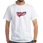 Baseball Style Swoosh Mom White T-Shirt