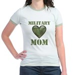 Military Mom Camouflage Camo Heart Jr. Ringer T-Sh