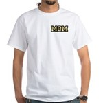 Golden Mom Name Gold Letters White T-Shirt