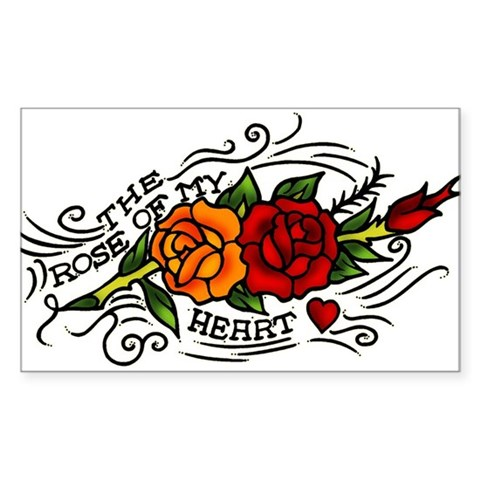 rose and heart tattoos. Rose of Heart Tattoo Sticker