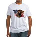 Chocolate Lab Flag Fitted T-Shirt