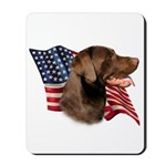 Chocolate Lab Flag Mousepad