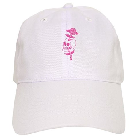 Pink Skull Rose Tattoo Art Cap. Made by trendyteeshirts.com