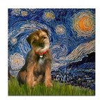 Starry Night / Border Terrier Tile Coaster