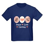 Bicycle Peace Love Cycling Kids Dark T-Shirt