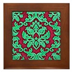 Garnet & Jade Damask Framed Tile