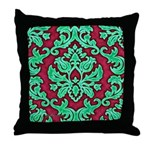Garnet & Jade Damask Throw Pillow
