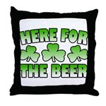 Here for the Beer Shamrock Throw Pillow