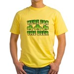 Here for the Beer Shamrock Yellow T-Shirt
