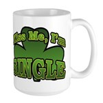 Kiss Me I'm Single Shamrock Large Mug