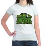 Kiss Me I'm Irish Shamrock Jr. Ringer T-Shirt