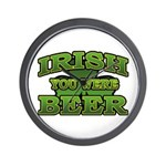 Irish You Were Beer Shamrock Wall Clock