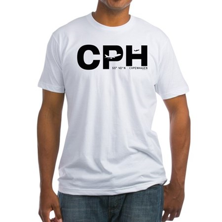 Copenhagen Airport CPH Black Des Fitted T-Shirt