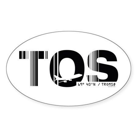 Tromso Airport Code Norway TOS Oval Sticker