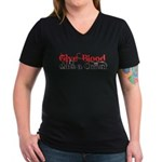 Give Blood Date a Cullen Women's V-Neck Dark T-Shi