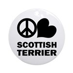 Peace Love Scottish Terrier Ornament
