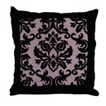 Purple Velvet Damask Throw Pillow