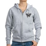 Diabetes Tribal Butterfly Women's Zip Hoodie
