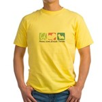 Peace, Love, Norwich Terriers Yellow T-Shirt