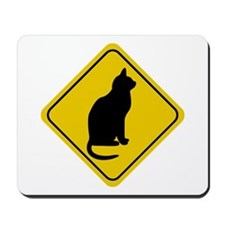 Cat Crossing Sign Mousepad