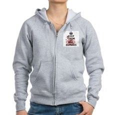 Keep Calm and Kill Zombies Womens Zip Hoodie