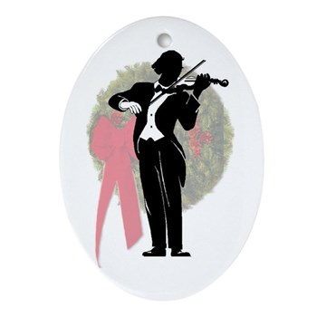 Lady Violinist Round Ornament