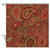 Red Mosaic Paisley Shower Curtain