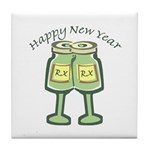 Happy New Years Toast Tile Coaster