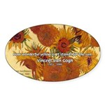 Van Gogh Painting & Quote Oval Sticker